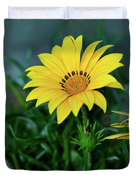 Duvet Cover featuring the photograph Bright Yellow Gazania By Kaye Menner by Kaye Menner