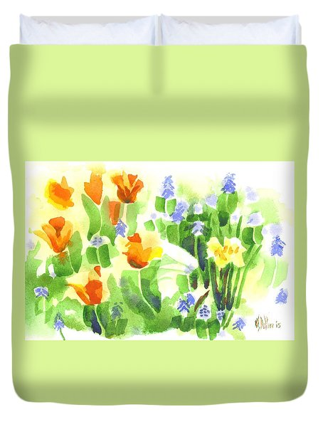 Duvet Cover featuring the painting Brightly April Flowers by Kip DeVore