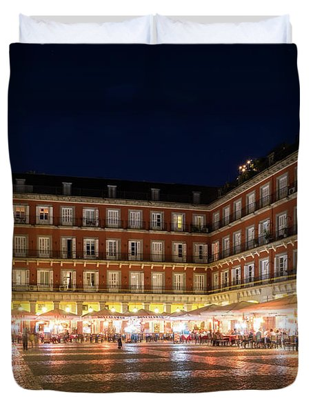 Brightly Lit Midnight - Plaza Mayor In Madrid Spain Duvet Cover