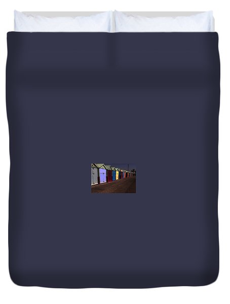 Brighton Beach Huts Duvet Cover by L A U R E N