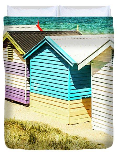 Brighton Beach, Melbourne Duvet Cover