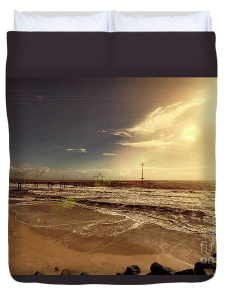 Brighton Beach Pier Duvet Cover by Douglas Barnard