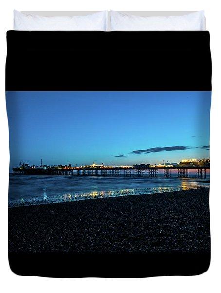 Brighton Pier At Sunset Ix Duvet Cover
