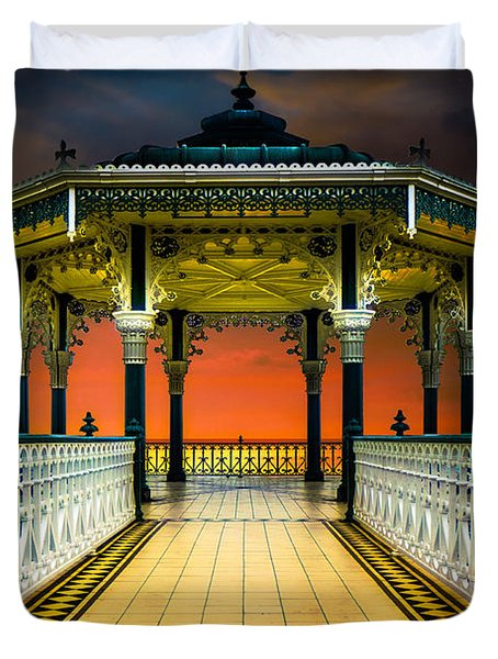 Duvet Cover featuring the photograph Brighton's Promenade Bandstand by Chris Lord