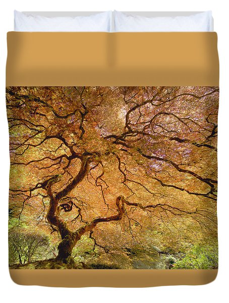 Duvet Cover featuring the photograph Brilliant Japanese Maple by Wanda Krack