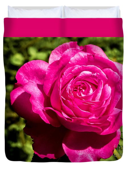 Duvet Cover featuring the photograph Brilliant Rose by Bob and Nancy Kendrick