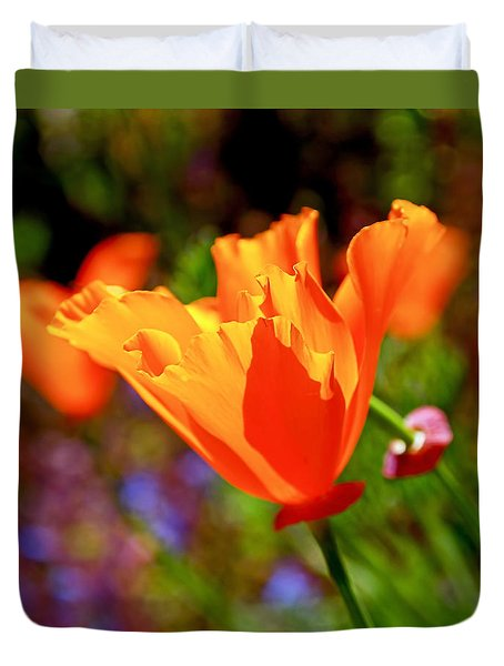 Duvet Cover featuring the photograph Brilliant Spring Poppies by Rona Black