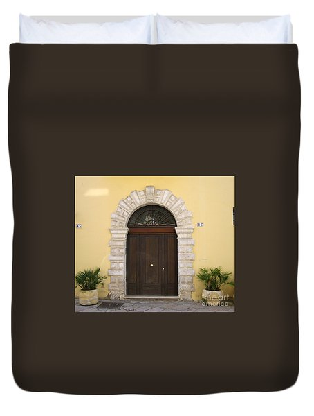 Brindisi By The Sea Door Duvet Cover