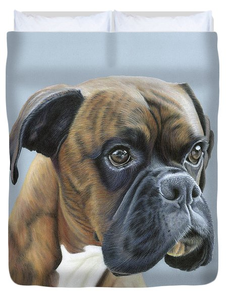 Duvet Cover featuring the painting Brindle Boxer Dog - Jack by Donna Mulley