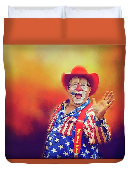 Duvet Cover featuring the photograph Bringing Fun To The Rodeo Greek Ellick Jr.  by Toni Hopper