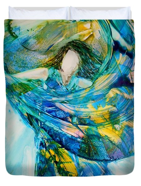 Duvet Cover featuring the painting Bringing Heaven To Earth by Deborah Nell