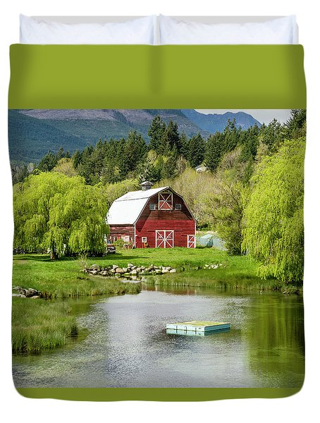 Brinnon Washington Barn By Pond Duvet Cover