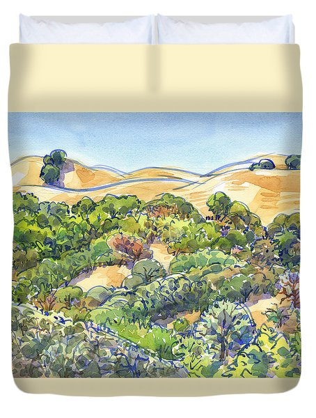 Duvet Cover featuring the painting Briones Regional Park Hills by Judith Kunzle
