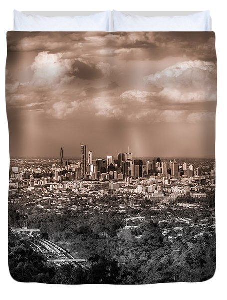 Brisbane Cityscape From Mount Cootha #4 Duvet Cover