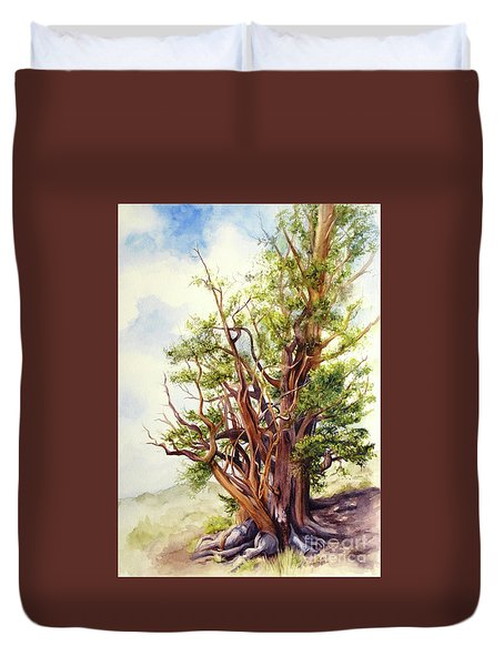 Duvet Cover featuring the painting Bristle Cone Pine by Bonnie Rinier