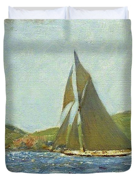 Duvet Cover featuring the painting Britannia by Henry Scott Tuke