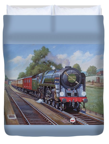 Duvet Cover featuring the painting Britannia Pacific On The Golden Arrow. by Mike  Jeffries