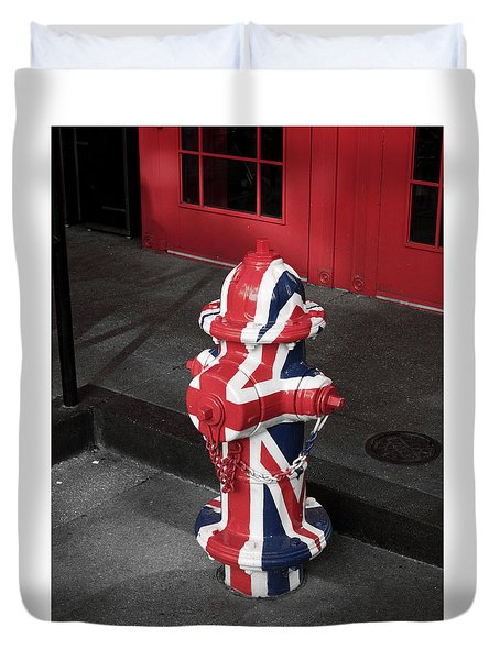 British Fire Hydrant Duvet Cover by Rae Tucker