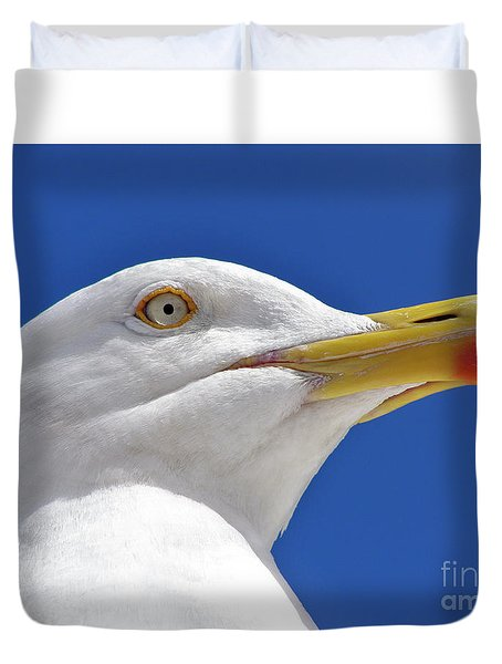 Duvet Cover featuring the photograph British Herring Gull by Terri Waters
