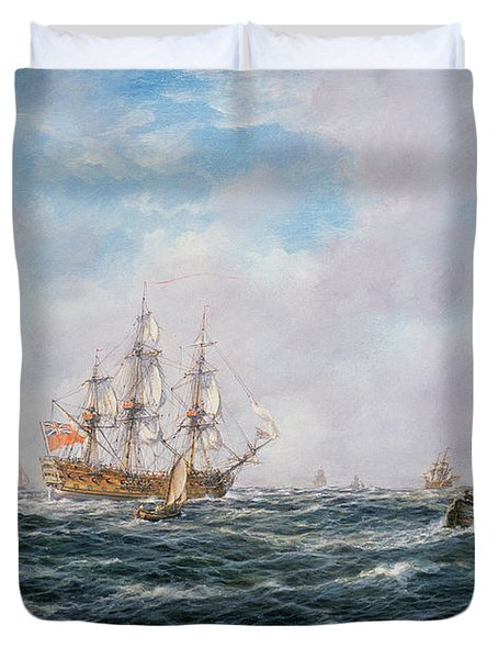 British Man-o-war And Other Craft Duvet Cover by Richard Willis