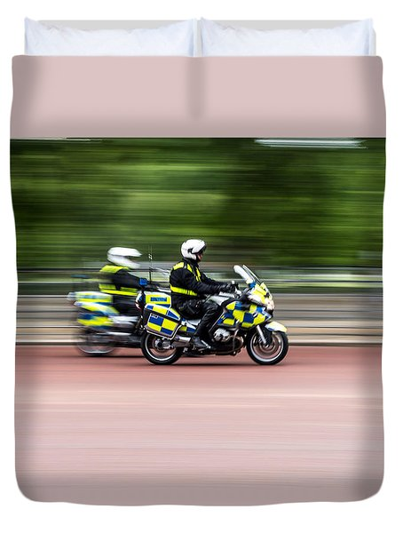 British Police Motorcycle Duvet Cover