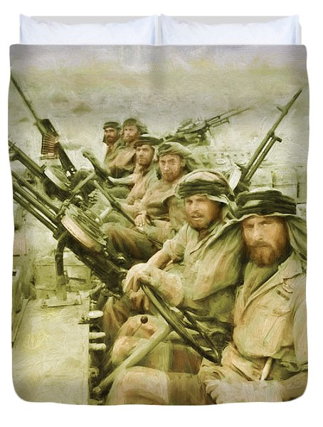 Duvet Cover featuring the painting British Sas by Michael Cleere