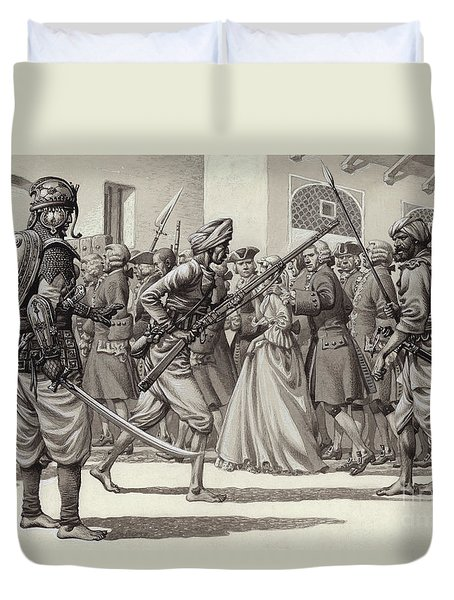 British Soldiers Are Forced Into The Black Hole Of Calcutta Duvet Cover