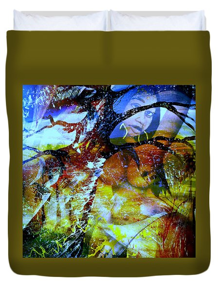 Duvet Cover featuring the mixed media Britney by Fania Simon