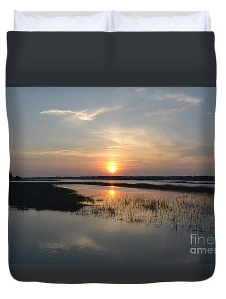 Duvet Cover featuring the photograph Broad Creek Sunset by Carol  Bradley