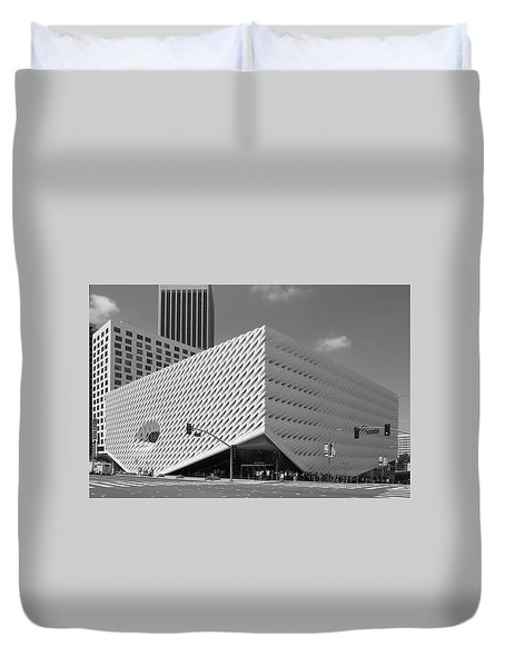 Duvet Cover featuring the photograph Broad Museum Los Angeles In Black And White by Ram Vasudev