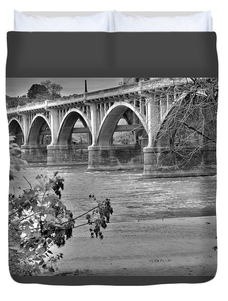 Gervais Street Bridge Black And White Duvet Cover