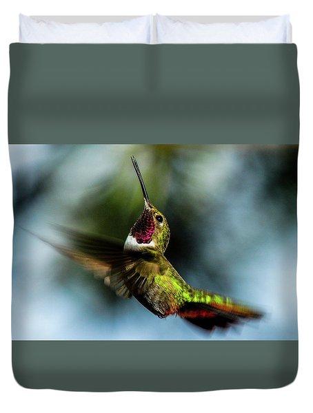 Broad-tailed Hummingbird In Flight Duvet Cover