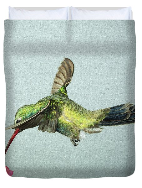 Duvet Cover featuring the digital art Broadbill Hummingbird With Digital Painting Effect by Gregory Scott