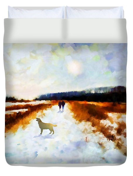 Duvet Cover featuring the painting Broadland Walk by Valerie Anne Kelly