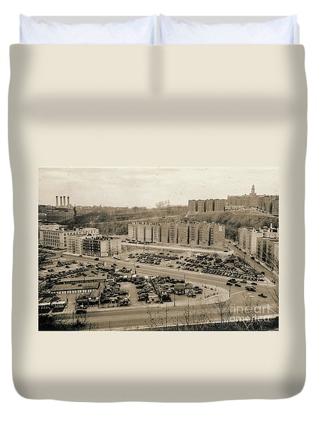 Broadway And Nagle Ave 1936 Duvet Cover