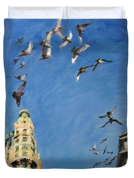 Broadway Pigeons No. 1 Duvet Cover