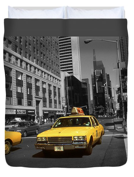 New York Broadway - Yellow Taxi Cabs Duvet Cover
