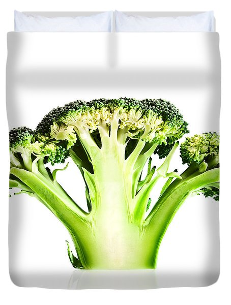 Broccoli Cutaway On White Duvet Cover