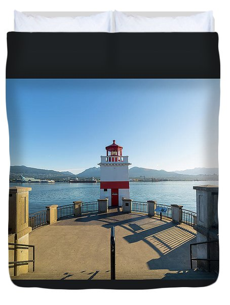 Brockton Point Lighthouse At Stanley Park Duvet Cover by David Gn