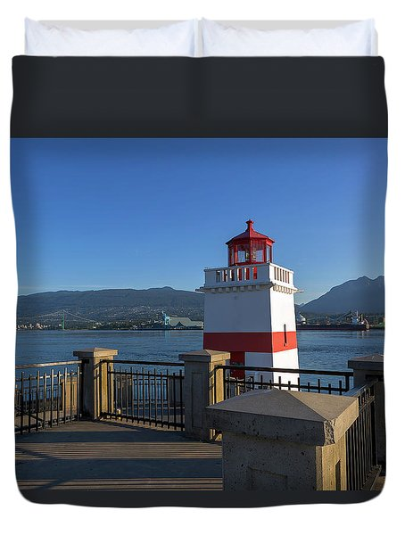 Brockton Point Lighthouse In Vancouver Bc Duvet Cover by David Gn