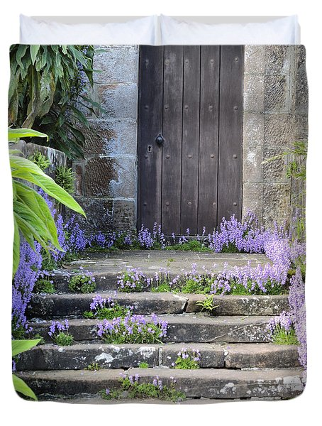 Brodick Castle The Old Door Duvet Cover by Sally Ross