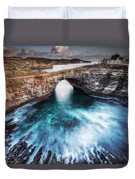 Duvet Cover featuring the photograph Broken Beach, Bali by Pradeep Raja Prints