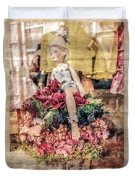 Duvet Cover featuring the photograph Broken Doll In The Window by Melinda Ledsome