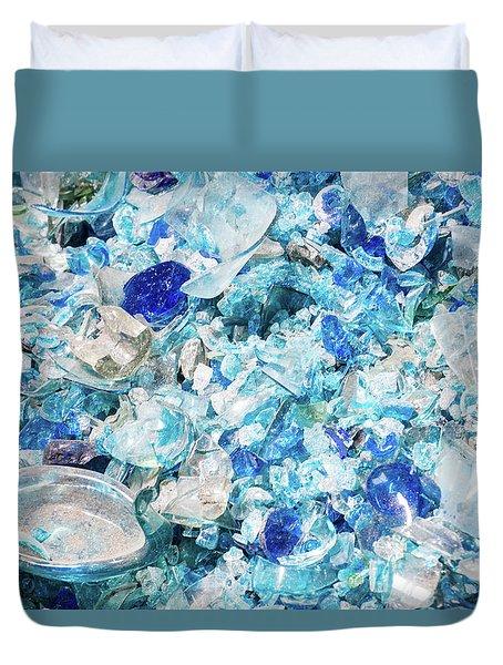 Broken Glass Blue Duvet Cover
