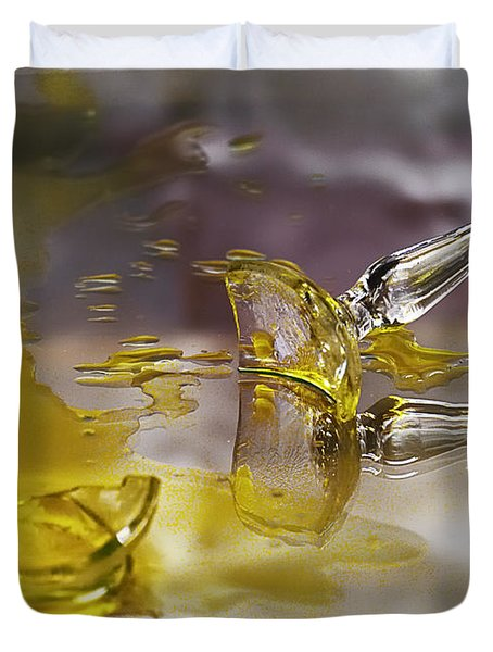 Duvet Cover featuring the photograph Broken Glass by Susan Capuano