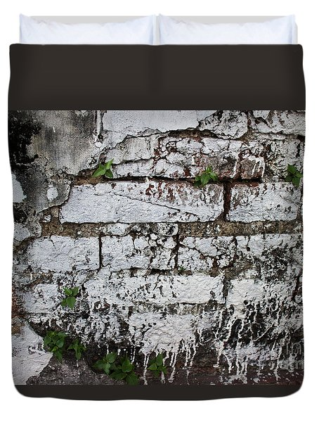 Duvet Cover featuring the photograph Broken Stucco Wall With Whitewashed Exposed Brick Texture And Ve by Jason Rosette