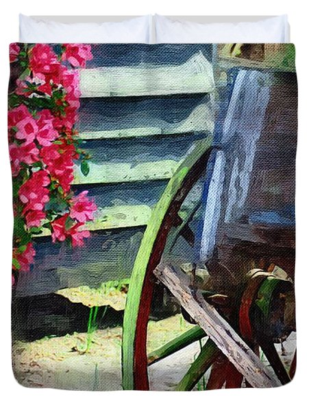Duvet Cover featuring the photograph Broken Wagon by Donna Bentley