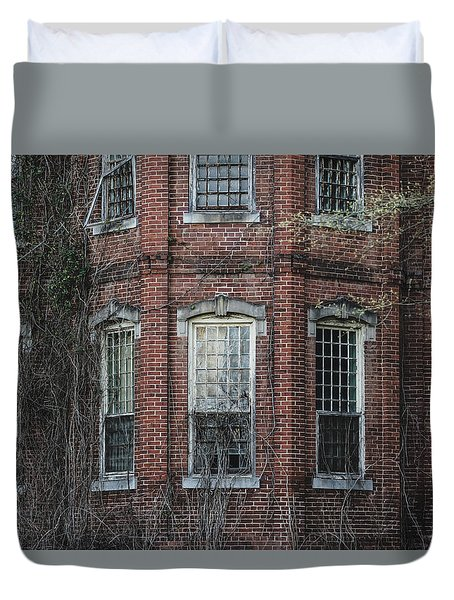 Duvet Cover featuring the photograph Broken Windows On Abandoned Building by Kim Hojnacki