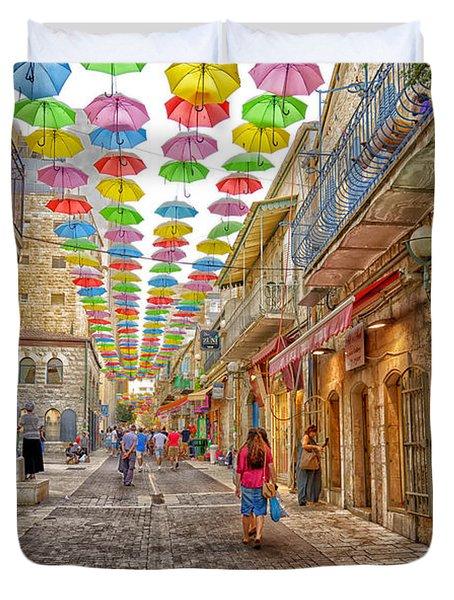 Brollies Over Jerusalem Duvet Cover
