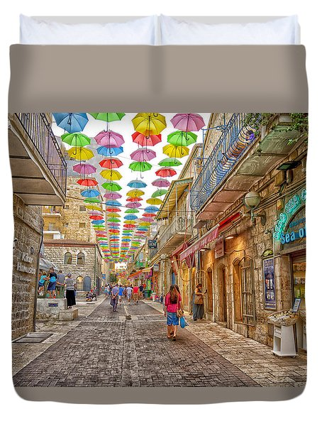 Brollies Over Jerusalem Duvet Cover